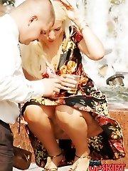 Unforgettable blonde upskirt pics