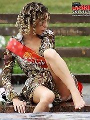 Blonde upskirt girl in a mini dress