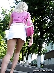 Extra hot shots with short skirts hardly hiding nude butts