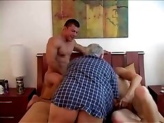 Two young suck dad's cock.