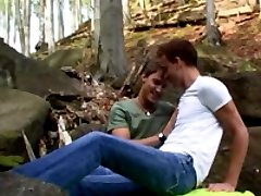 Handsome twink sucks his boyfriends dick, takes it in the ass and gets cumsprayed in a forest