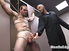 Jonah Marx is cruising the bathroom and notices someone in the stall next to him. Eager to blow...