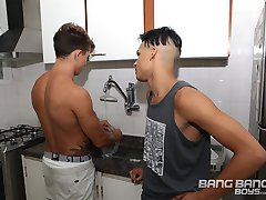 There's nothing more dull than doing the dishes so when Italo comes along to distract Tony Dias from the task he jumps at the opportunity.    They head to the bedroom and Tony's big dick is soon out of his pants being sucked by Italo.    Tony then sucks on Italo's meat before putting him on all fours - spitting on his ass and alternating between rimming his hole, sucking his cock and slapping his ass.  Italo's fine bubble butt is treated to a spit filled licking and then a finger fucking before Tony Dias then gets his rock hard raw cock and starts to fuck that tight hole. It feels awesome and Italo is very talented in the positions he jumps into with that cock in his ass.  He's got 'Hot Boys' tattooed on his ass and a hot boy fucking it - but wait - they flip! And now it's Tony's turn to get fucked.    Getting his hole filled sends Tony over the top and he blows his load all over Italo's gorgeous face.  Italo licks that cum up like a hungry man!    Shower time!