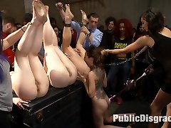 Roxanne Rae is the star slut of the evening but she does have a little help from her friends. Everyone gangs up on her to completely overwhelm her body and mind. She takes it in the ass like a pro, gets fisted, cattle prod, DP and a face full of cum.
