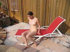 Girlfriend naked and spreading by the pool