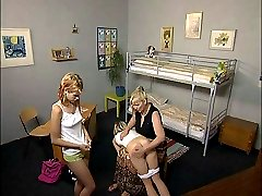 2 pretty teens spanked and caned in the bedroom - searing strokes