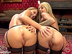 Aiden Starr punishes, trains and ass fucks two hot little blondes into submission for her...