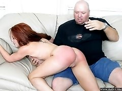 Stunning red head spanked raw on her big beautiful ass - quivering cheeks