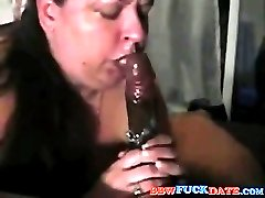 Fat wifeblowing with lots of saliva spiting