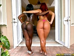 Amazing black and white ass babes get fucked in this black and white sex 4some sex party