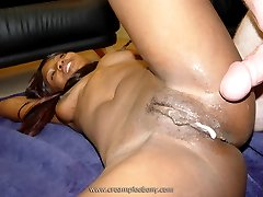 Ebony babe getting a white creampie