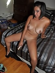 Latina floozy Renee L. shows her Latina ass and pussy as she plays with dildo and fucks her...
