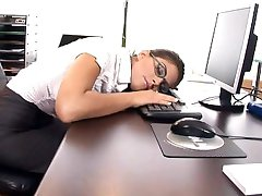 Horny secretary fucked on her desk in nylon