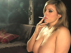 Smoking with mouth full of cum