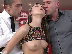 Petite Russian chick Doris Ivy gets double penetrated in flying position