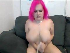 Amateur plumper teasing her lover on cam