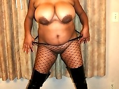 Black BBW in fishnets gives him a wet pussy to fuck all day