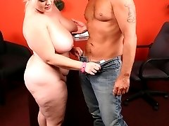 Chubby hottie Bunny treats her stud with a blowjob and got her pussy and huge jugs pleasured in...