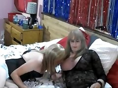 One hair-ass gay cross-dresser and two horny dudes willing to fuck his mouth and ass raw