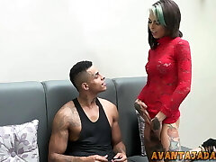 Stunning shemale trying to bang a cutie without putting off her suntan hose
