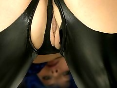 Blue wigged horny slut in tight latex