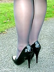 Black high heels and black stockings are always a treat