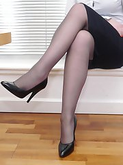 Hot secretary Jenny reveals her gorgeous black nylons and sexy high heel shoes at home