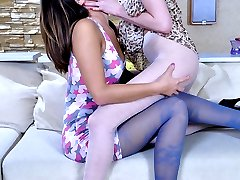 Pantyhosed lesbo wives worship each other and exchange rousing tongue jobs