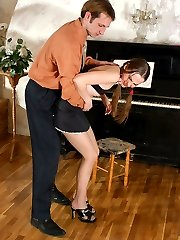 Pantyhose clad dancer in flying skirt seduced by her nylon addicted teacher