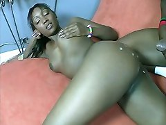 Bootylicious ebony Niya sucking off a thick cock and cramming it deep into her tight asshole