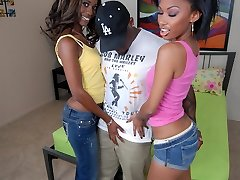 Bella Moretti and Heidi Waters are hot black women enjoying a nice threesome in bed