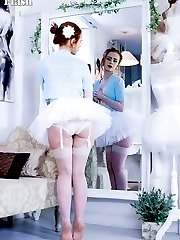 Petite and sexy Ella brings us some real theater with a ballerina in a vintage corset and nylons...