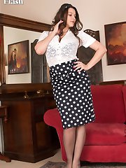 Victoria's quite coy to start, but she soon releases her ample bosom from her bra!
