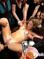 Felony arrives on set a woman and leaves, destroyed. It\'s that simple. We make her cum so many times that she can\'t speak, she can\'t move, she can\'t even hear us talking to her. Her pussy, ass, and mouth become public property, groped, fucked, and fingered by any willing guest. She is made to squirt until her pussy is totally dry, about four different times. Then she is made to mop her cum off the floor with her hair and left in a puddle of her own juices on the floor. You don\'t want to miss this shoot.