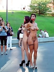 Two gorgeous models are tied up and publicly humiliated on the streets of Madrid in full display...