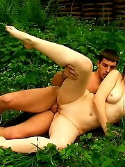 Outside, this horny redhead teen gets the rock hard cock that makes her moan so loud with...