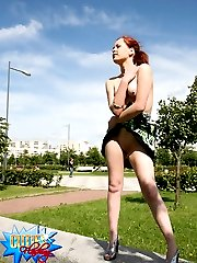 Young hottie shows no shame posing naked in public