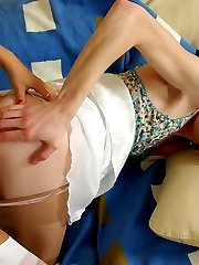 Lewd sissy guy getting strap-on fucked without taking off silky pantyhose