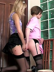 Kinky sissy maid tempting a strap-on armed babe into steamy ass-pounding
