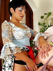 Lewd sissy maid getting down to strap-on fucking before a hard working day