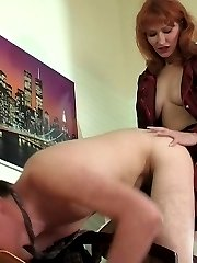 Red hot gal seducing her co-worker into frenzied strap-on fucking in office