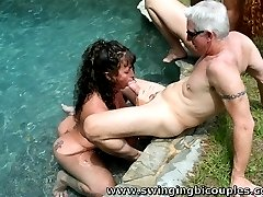 Some BI couples have an OUTDOOR ORGY in Back Yard