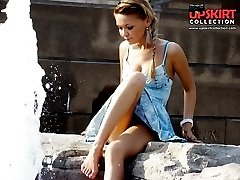 Denim upskirt pics with cute brunette