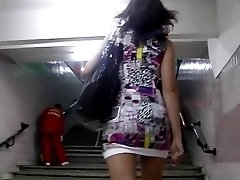 Hidden up skirt cam working in tram
