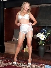 Blonde Abi in flimsy blouse, pencil skirt, sheer nylon panties and glossy nylons!