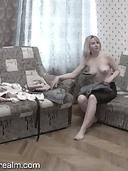 Spy on dressing blonde babe