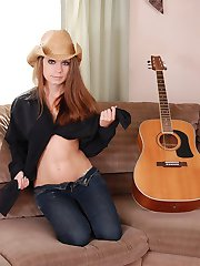 Kates country girlfriend Devon shows off her tight body while striping on the couch