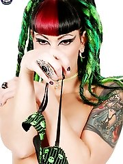 Gothic Tattooed Babe in Green Skull Bikini