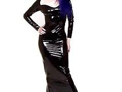 bluehaired punk chick long latex skirt and shotgun