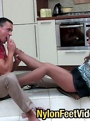 Horny guy licking high heels and every nyloned toy aching for great footjob